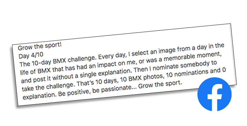 BMX Grow The Sport Challenge on Facebook