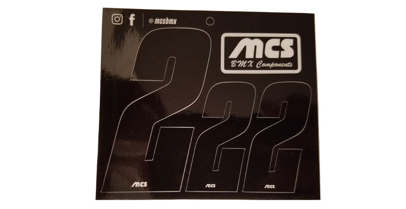 MCS-brand BMX Number Sheets