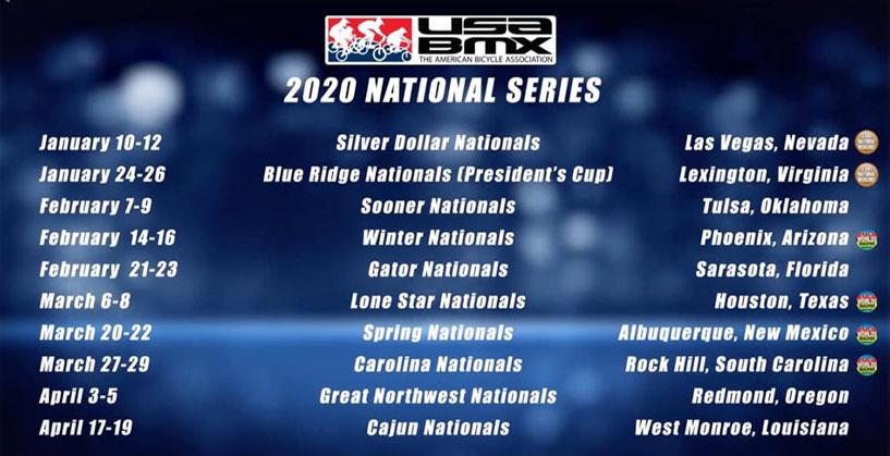 2020 USA BMX National Schedule - Jan-Apr