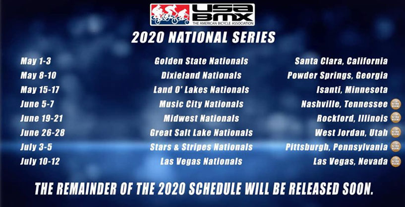 2020 USA BMX National Schedule - May-July